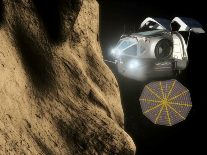 An artist's conception of a space exploration vehicle approaching an asteroid. Credit: NASA