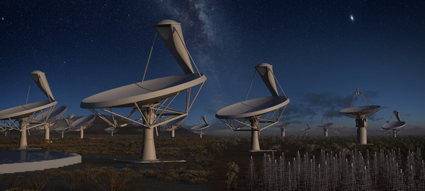 Artist's impression of the full Square Kilometer Array at night. The SKA, consisting of several thousand dishes located in the deserts of South Africa and Australia, is expected to start full operation about 2025. Credit: SKA Organisation