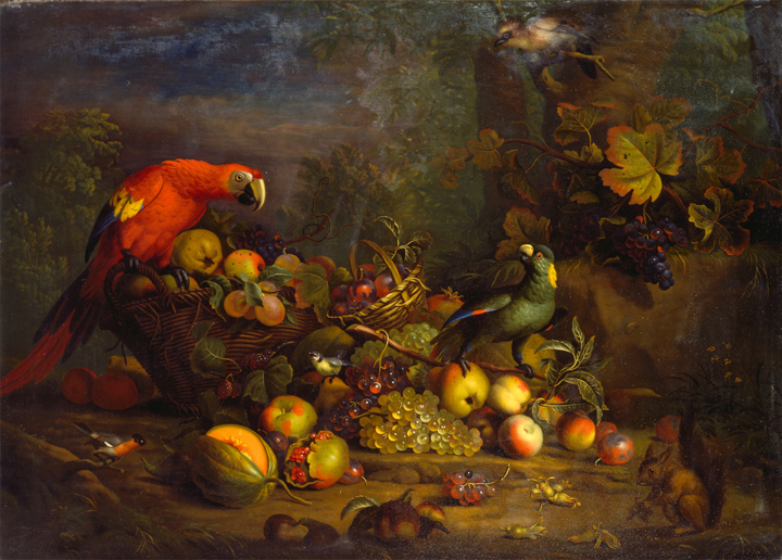 "Among the food-related artworks in the university's collections is Tobias Stranover's ""Parrots and Fruit with Other Birds and a Squirrel,"" created between 1710 and 1724, now part of the Yale Center for British Art's Paul Mellon Collection."
