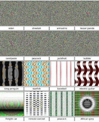 Meaningless to humans, these images are recognized by a computer wiith great certainty as common objects. The white noise versions on top and pattern versions below were created by slightly different methods.