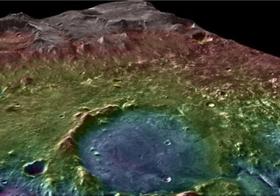 A huge Martian watershed A false-color topographic map (blue marks low elevations) shows the area around Jezero Crater. Flowing water would have gathered any biologic or organic material from a wide area and deposited it at the crater, making it a logical landing site for a future Mars rover mission. NASA/MSSS/ASU/GSFC