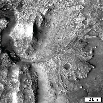 Water record from a paleolake A delta-like fan at the western edge of Jezero Crater marks an area where flowing water would have entered the lake-filled crater and deposited clay minerals transported from the surrounding watershed. Image: NASA/MSSS