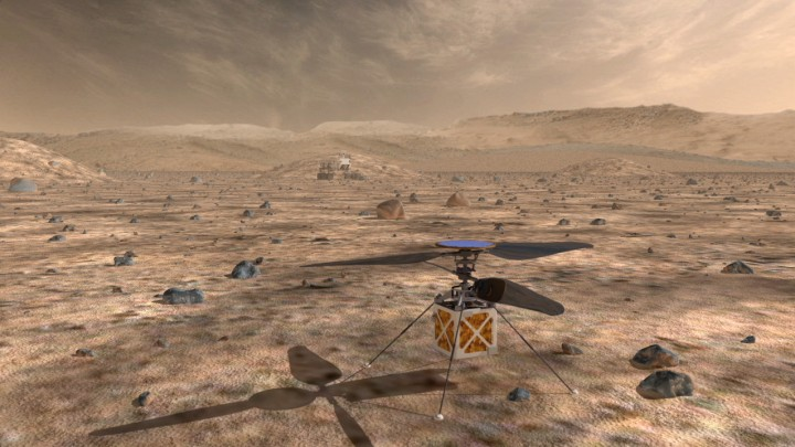 A small drone helicopter currently being developed by engineers at NASA's Jet Propulsion Laboratory could serve as a reconnaissance scout for future Mars rovers, greatly enhancing their effectiveness. Credit: NASA JPL