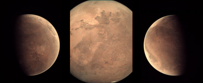 "Some recent views of the Red Planet from the Visual Monitoring Camera, the ""Mars Webcam"" on board the Mars Express orbiter. Left: the great Valles Marineris canyon can be seen near the upper right side of the disc, filled with mist or dust. Center: a clear view of the canyon, and all the way down to the south polar cap. Right: weather on the horizon. Some recent views of the Red Planet from the Visual Monitoring Camera, the ""Mars Webcam"" on board the Mars Express orbiter. Left: the great Valles Marineris canyon can be seen near the upper right side of the disc, filled with mist or dust. Center: a clear view of the canyon, and all the way down to the south polar cap. Right: weather on the horizon.  Image credit: ESA/Mars Express/VMC/Bill Dunford/CC BY-NC 3.0"