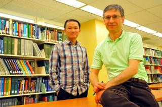 Ziguang Chen and Florin Bobaru. Image credit: Scott Schrage/University Communications
