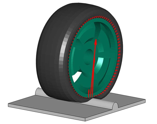 CDTire/3D tire simulation while rolling over an obstacle. © Fraunhofer ITWM