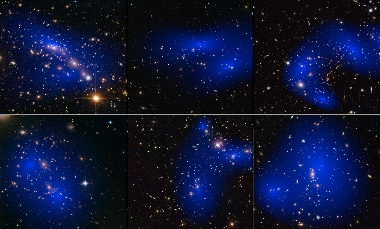 This collage shows NASA/ESA Hubble Space Telescope images of six different galaxy clusters. The clusters were observed in a study of how dark matter in clusters of galaxies behaves when the clusters collide. 72 large cluster collisions were studied in total. Using visible-light images from Hubble, the team was able to map the post-collision distribution of stars and also of the dark matter (coloured in blue). The clusters shown here are, from left to right and top to bottom: MACS J0416.1–2403, MACS J0152.5-2852, MACS J0717.5+3745, Abell 370, Abell 2744 and ZwCl 1358+62. Credit: NASA, ESA, D. Harvey (École Polytechnique Fédérale de Lausanne, Switzerland), R. Massey (Durham University, UK), the Hubble SM4 ERO Team, ST-ECF, ESO, D. Coe (STScI), J. Merten (Heidelberg/Bologna), HST Frontier Fields, Harald Ebeling(University of Hawaii at Manoa), Jean-Paul Kneib (LAM)and Johan Richard (Caltech, USA)