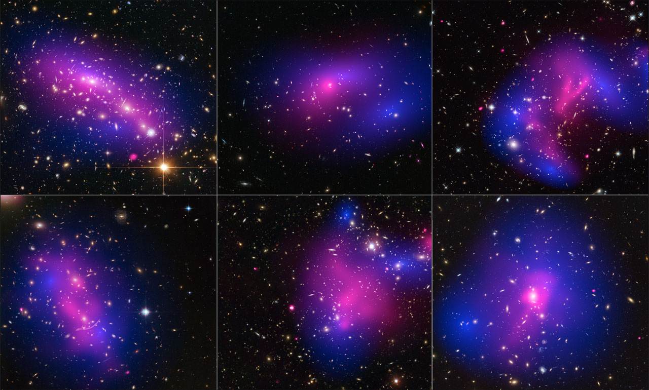 Using visible-light images from Hubble, the team was able to map the post-collision distribution of stars and also of the dark matter(coloured in blue), which was traced through its gravitational lensing effects on background light. Chandra was used to see the X-ray emission from impacted gas (pink). The team determined that dark matter interacts with itself and everything else even less than previously thought. The clusters shown here are, from left to right and top to bottom: MACS J0416.1-2403, MACS J0152.5-2852, MACS J0717.5+3745, Abell 370, Abell 2744, and ZwCl 1358+62. Credit: NASA/ESA/STScI/CXC, D. Harvey (Ecole Polytechnique Federale de Lausanne, Switzerland; University of Edinburgh, UK), R. Massey (Durham University, UK), T. Kitching (University College London, UK), and A. Taylor and E. Tittley (University of Edinburgh, UK