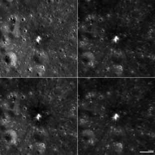 Four different NAC images of a crater (18 meter diameter) formed on the moon, March 17, 2013; each scene is 560 meters wide. Photo by: NASA/GSFC/Arizona State University