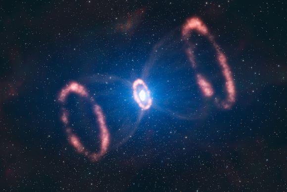 Artistic representation of the material around the supernova 1987A. Supernovae are among the most violent events in the universe. Credit: ESO/L. Calçada