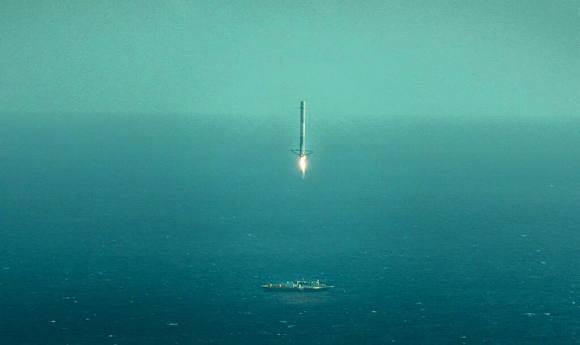 View of Falcon 9 first stage landing burn and touchdown on 'Just Read the Instructions' landing barge. Credit SpaceX