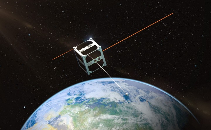"""An artist's rendering of the Estonian nanosatellite ESTCube-1, which was the first satellite to test the electric """"sail"""". Image credit: Taavi Torim via Wikipedia.org, CC BY-SA 3.0."""