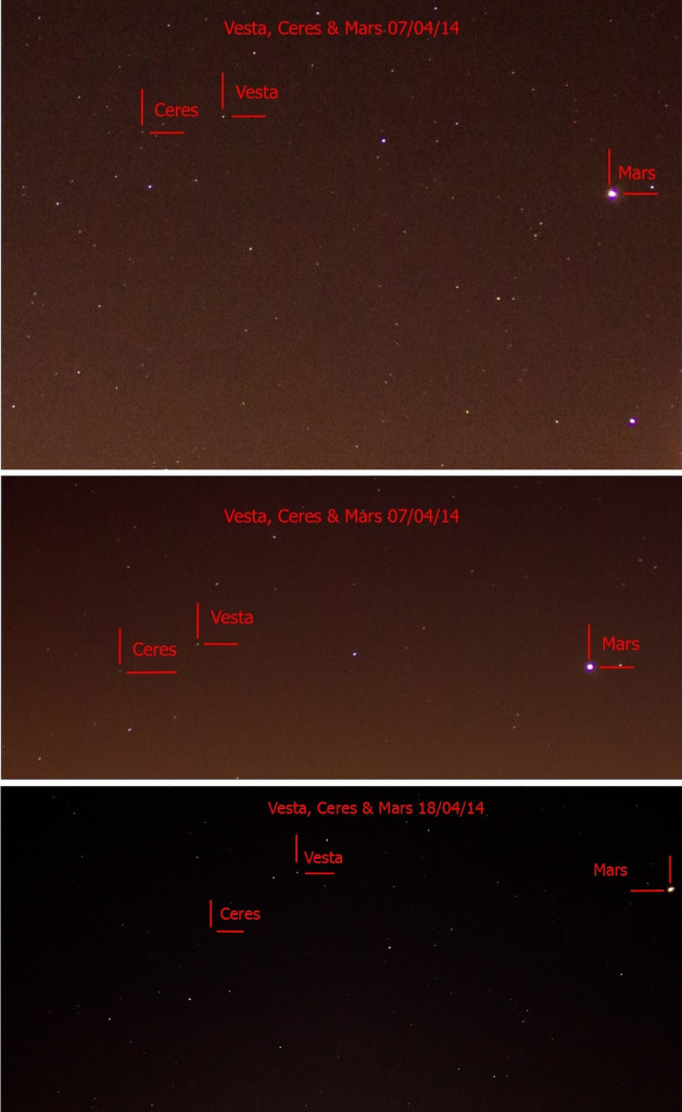 Ceres, Vesta and Mars group together in 2014. Image credit and copyright: Mary Spicer
