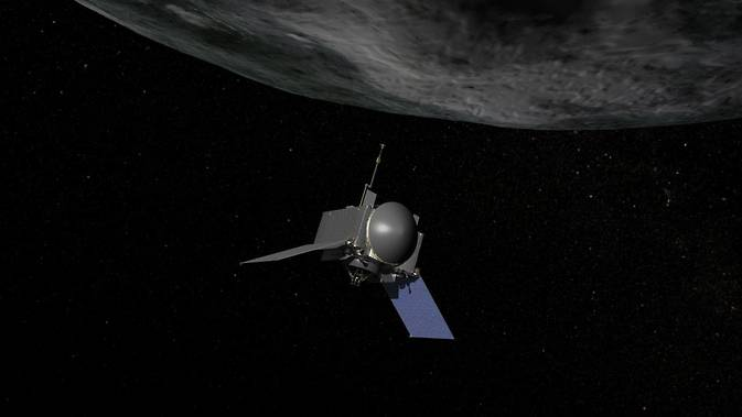 Artist concept of OSIRIS-REx, the first U.S. mission to return samples from an asteroid to Earth. Image Credit: NASA/Goddard