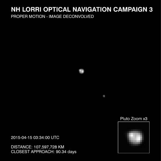 This image of Pluto and it largest moon, Charon, was taken by the Long Range Reconnaissance Imager (LORRI) on NASA's New Horizons spacecraft on April 15, 2015. The image is part of several taken between April 12-18, as the spacecraft's distance from Pluto decreased from about 69 million miles (93 million kilometers) to 64 million miles (104 million kilometers). Credits: NASA/JHU-APL/SwRI