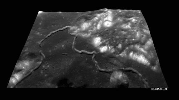 The Hadley Rille, at the foot of the Apennine Mountains encircling the Mare Imbrium where Apollo 15 landed. Credit: NASA/JAXA
