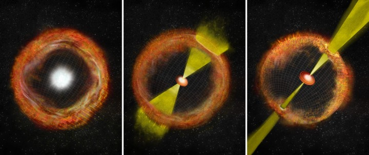 "In an ordinary core-collapse supernova with no ""central engine,"" ejected material expands outward nearly spherically, left. At right, a strong central engine propels jets of material at nearly the speed of light and generates a gamma-ray burst (GRB). The center panel shows an intermediate supernova like SN 2012ap, with a weak central engine, weak jets, and no GRB. Image credit: Bill Saxton, NRAO/AUI/NSF"