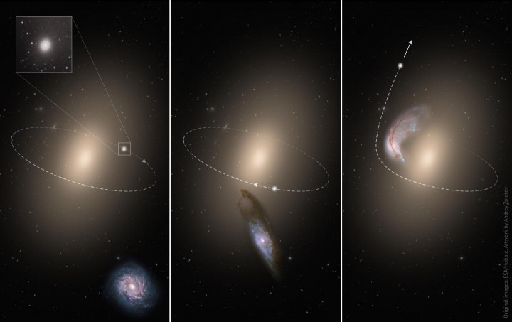 An artwork demonstrates several stages of the process of a close three-body encounter with a gravitation kick of a compact elliptical galaxy that explains the phenomenon of an isolated compact elliptical galaxy. Image credit: ESA/Hubble. Artwork by Andrey Zolotov
