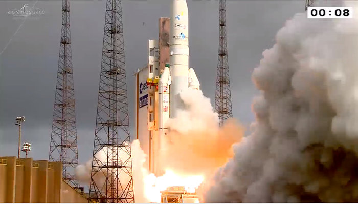 On 26 April 2015, Ariane 5 flight VA222 lifted off from Europe's Spaceport in French Guiana and delivered two telecom satellites, Thor-7 and Sicral-2, into their planned orbits. Copyright ESA