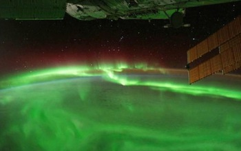 "St. Patrick's Day, 2015, brought a once-a-decade display of the aurora, here in ""shamrock green."" Image credit: NASA"