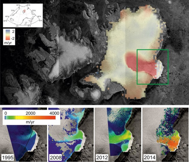 The main figure (top) shows the rate of ice cap elevation change between 2010 and 2014 observed by CryoSat, overlaid on an image acquired by Sentinel-1A (in 2014). Red indicates that the ice surface is lowering. In the southeast region (green box) ice thinning far exceeds the colour scale of 2 m per year. A closer look at the southeast region is shown in the four smaller figures below. These figures show the evolution of ice velocity over the last two decades. Ice velocity in 2014 was mapped using Sentinel-1A and the DLR German Aerospace Center's TerraSAR-X mission. Copyright CPOM/GRL