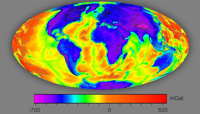 The Bouguer anomaly distinguishes thick from thin crust by more negative and positive values. With thin crust (red on map) the hot mantle is shallower and thermal gradients are higher, increasing the chance of exploiting geothermal energy. The Bouguer anomaly is obtained by removing the effect of elevated regions and of oceanic water from the gravity disturbance. Copyright ESA/IRENA