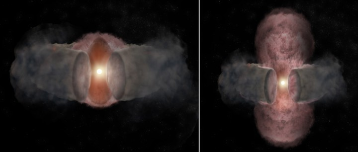 Artist's conception of the development of W75N(B)-VLA-2.. At left, a hot wind from the young star expands nearly spherically, as seen in 1996. At right, as seen in 2014, the hot wind has been shaped by encountering a dusty, donut-shaped torus around the star and appears elongated. Image credit: Bill Saxton, NRAO/AUI/NSF