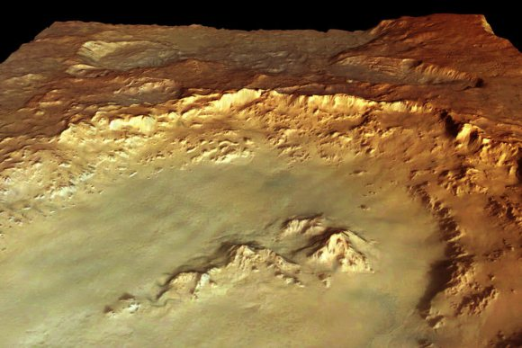 Perspective view of Hale crater made from data acquired by ESA's Mars Express. Credit: ESA/DLR/FU Berlin (G. Neukum)