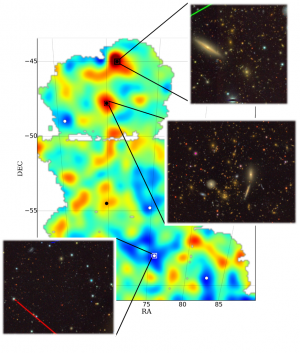 High concentrations of dark matter are shown in red and sparse areas in blue. Galaxies tend to form in the matter-rich areas.