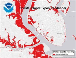 """Charleston, South Carolina, was found to be one of the top ten U.S. cities in increased nuisance flooding, according to a June 2014 NOAA report. The Coastal Flood Exposure Mapper enables users to visualize these flood impacts and others in order to craft better resilience plans."""". Image credit: NOAA"""