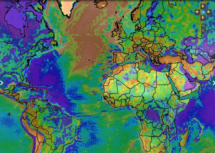 This screenshot from the online interactive maps shows free air gravity anomaly, which gives information on geological structures from GOCE gravity data. Copyright ESA/IRENA