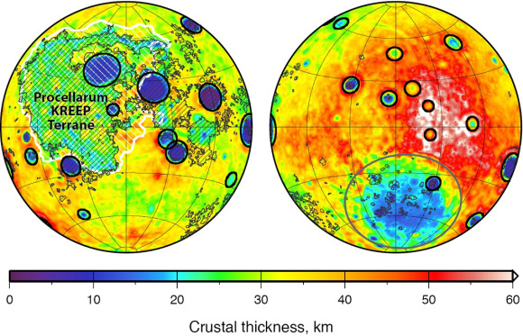 NASA's lunar Gravity Recovery And Interior Laboratory (GRAIL) mission calculated the thickness of the moon's crust. Credit: NASA/JPL-Caltech/S. Miljkovic