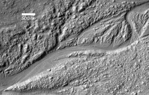THEMIS image of channels in the southeastern ejecta of Hale crater. Credit: NASA/JPL-Caltech/Arizona State University.