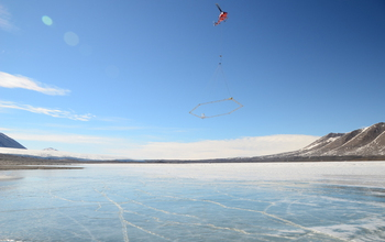 A helicopter flies the AEM sensor over Lake Frxyell in the McMurdo Dry Valleys. Image credit: Lars Jansan, NSF