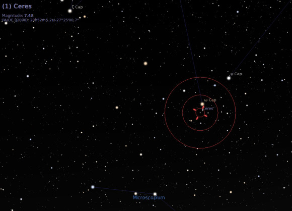 Ceres meets up with Omega Capricorni on June 29th. Credit: Stellarium.