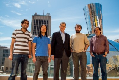 (Left to right) graduate students Neal Wadhwa and Justin Chen; Oral Buyukozturk, a professor in Civil and Environmental Engineering; Frédo Durand, a professor in CSAIL; and Bill Freeman, a professor in CSAIL. Photo: Jose-Luis Olivares/MIT
