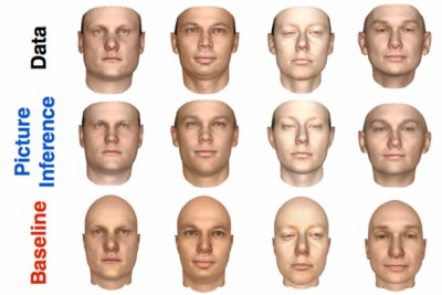 Two-dimensional images of human faces (top row) and front views of three-dimensional models of the same faces, produced by both a new MIT system (middle row) and one of its predecessors (bottom row). Courtesy of the researchers