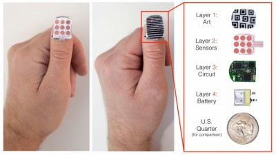 The first NailO prototype with Rigid PCB and copper printed electrodes. It can be personalized with a top nail-art layer. The 4 layers are shown individually, stacked on top of each other. Courtesy of MIT Media Lab