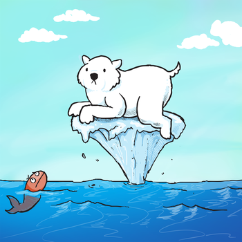 "An image of a polar bear on a shrinking or growing iceberg helps users of the ""My Earth"" energy use tracking app visualize the impacts of their daily activities. Image credit: Dylan Moriarty"