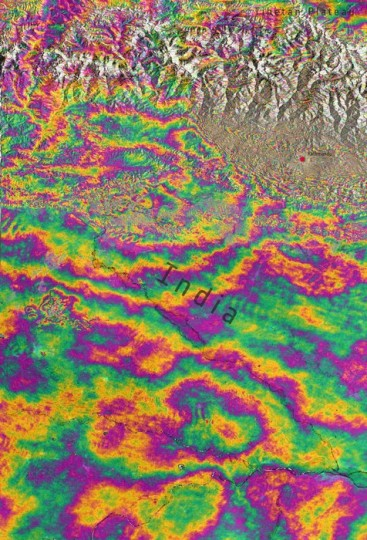 Combining two Sentinel-1A radar scans from 17 and 29 April 2015, this interferogram shows changes on the ground that occurred during the 25 April earthquake that struck Nepal. An overall area of 120x100 km has moved – half of that uplifted and the other half, north of Kathmandu subsided. Vertical accuracy is a few cm. Copyright Contains Copernicus data (2015)/ESA/Norut/PPO.labs/COMET–ESA SEOM INSARAP study