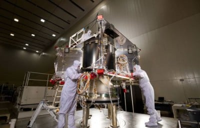 In a facility near Denver, Lockheed Martin technicians began assembling NASA's OSIRIS-Rex spacecraft that will collect samples of an asteroid. Image credit: Lockheed Martin
