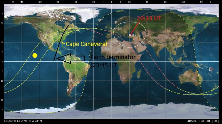 The position of the ISS during Monday's liftoff, plus the trace for the next two orbits, and the position of the day/night terminator at the end of the second orbit. Image credit: Orbitron