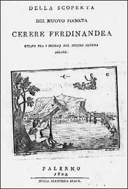 A 1802 publication by Piazzi describing his discovery of Ceres. Credit: Image in the Public Domain.