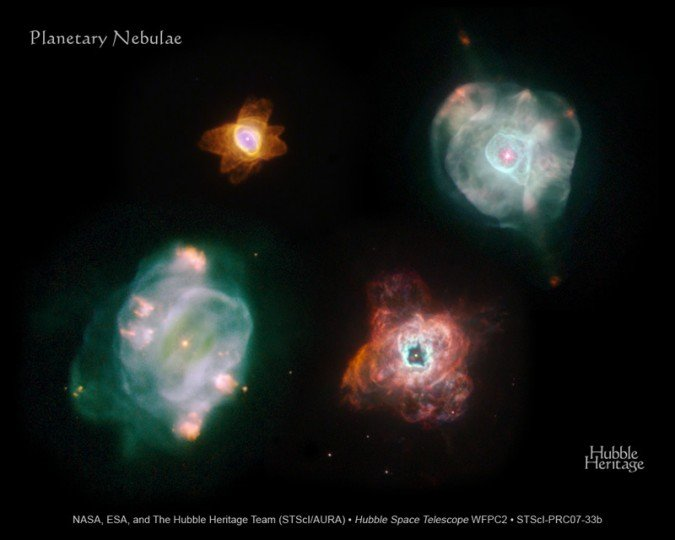 Different planetary nebulae, all remnants of low mass stars ejecting their outer material as they die. Credit: NASA