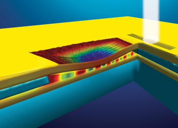 """The plasmonic phase modulator is an inverted, nanoscale speed bump. Gold strands are stretched side by side across a gap just 270 nanometers above the gold surface below them. Incoming plasmons travel though this air gap between the bridges and the bottom gold layer. Lowering the """"bump"""" with a control voltage squeezes the gap and makes the device function like a plasmon switch. Image credit: Dennis/Rutgers and Dill/NIST"""