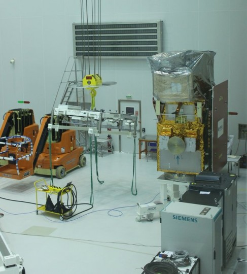 Sentinel-2A appears safe and sound after its journey from Germany. Now in the cleanroom at Europe's Spaceport in Kourou, French Guiana it will spend the next weeks being thoroughly tested in preparation for launch on 11 June 2015. Copyright ESA–C. Wildner