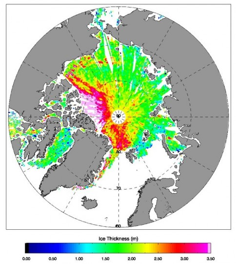 This image demonstrates the latest 28-day (18 March to 14 April 2015) Arctic sea-ice thickness measurements from CryoSat, now available via a new website. The interactive map allows users to zoom in on various regions of the Arctic for a closer look at ice thickness. Copyright ESA/CPOM