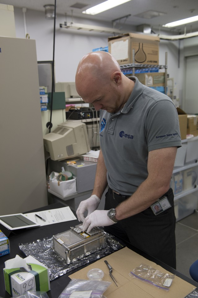 European Space Agency astronaut Alexander Gerst trains for the Plant Gravity Sensing investigation at the Japan Aerospace Exploration Agency's Tsukuba Space Center in March 2014. Image Credit: European Space Agency/S. Corvaja