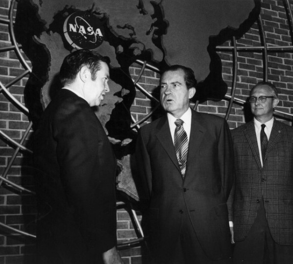 Then-Goddard Center Director John Clark greets President Richard Nixon, who visited the center for an Apollo 13 briefing on April 14, 1970. At right is Henry Thompson, deputy director of manned flight support at Goddard. Image Credit: NASA's Goddard Space Flight Center