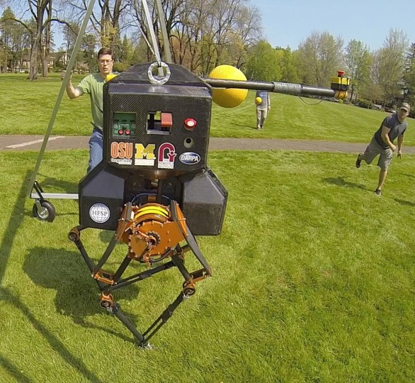 ATRIAS is a human-sized robot that can walk over different terrains and even withstand being hit with a rubber ball. It is said to be pioneer of the future of running robots. (Image courtesy of Oregon State University)
